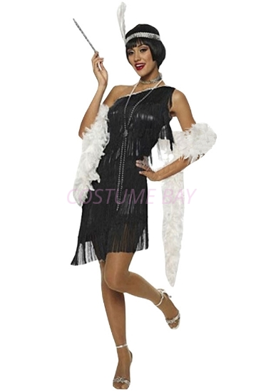 Picture of 1920's Charleston Flapper Dress-Black