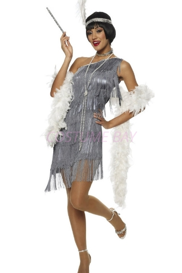 Picture of 1920's Charleston Flapper Dress - Silver