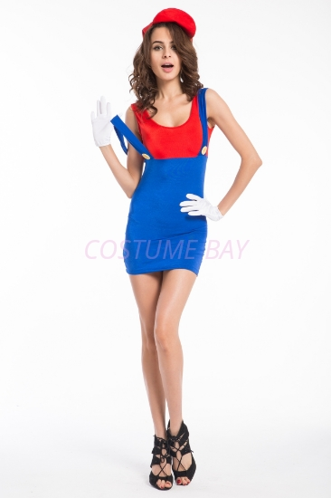 Picture of Super Mario Bros Red Plumber Womens Costume Mario
