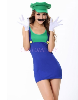 Picture of Super Mario Bros Green Plumber Womens Costume Luigi