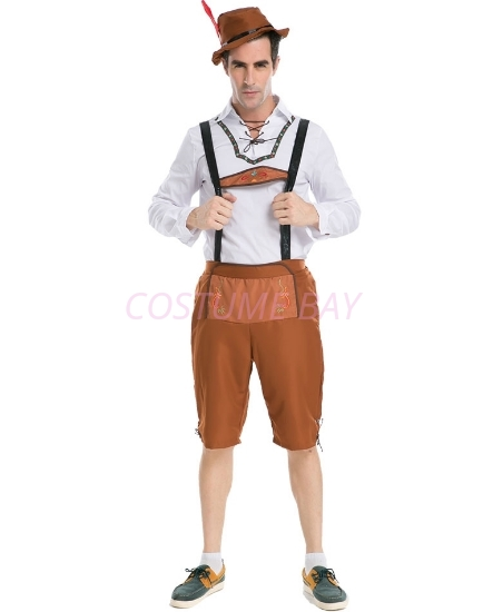 Picture of Mens Lederhosen Oktoberfest Bavarian German Beer Costume Brown