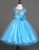 Picture of Girls Floral Formal Wedding Bridesmaids Flower Dress  -Blue