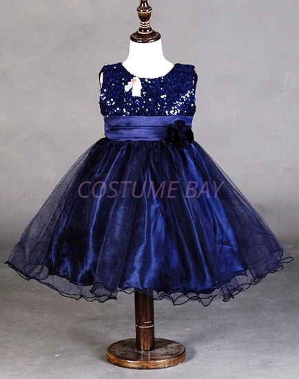 Picture of Girls Floral Formal Wedding Bridesmaids Flower Dress  -Navy Blue