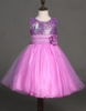 Picture of Girls Floral Formal Wedding Bridesmaids Flower Dress  -Purple
