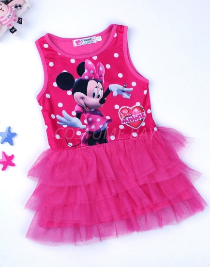 Picture of Girls Flower Mickey Minnie Mouse Polka dots Tutu Princess Dress -Pink