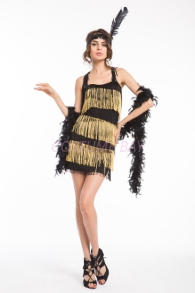 Picture of 1920's Charleston Flapper Dress Back Bow - Black/Gold