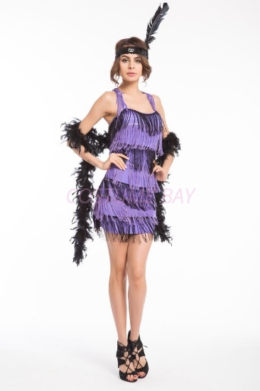 Picture of 1920's Charleston Flapper Dress Back Bow - Black/Purple