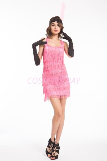 Picture of 1920's Charleston Flapper Dress Back Bow - Pink