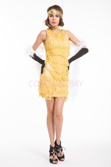 Picture of 1920's Charleston Flapper Dress Two Shoulders - Golden