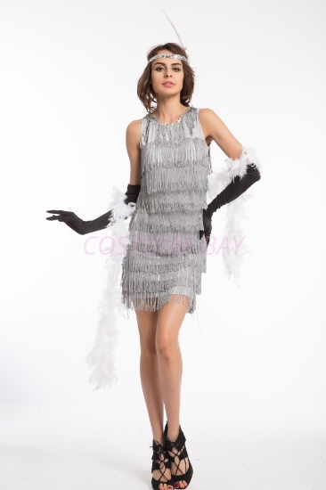 Picture of 1920's Charleston Flapper Dress Two Shoulders - Silver