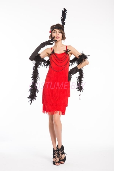 Picture of 1920's Charleston Flapper Dress Front Beads - Red