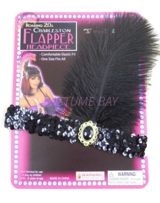 Picture of 1920's Charleston Flapper Headband with Feather - Black