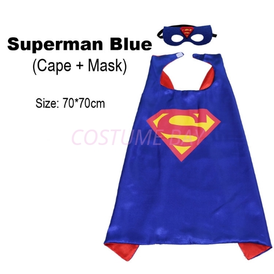 Picture of Kids PJ Superhero Cape &  Mask Set - Superman Blue