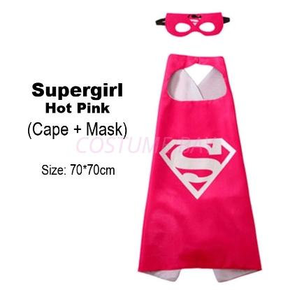 Picture of Kids PJ Superhero Cape &  Mask Set - Supergirl Hot Pink