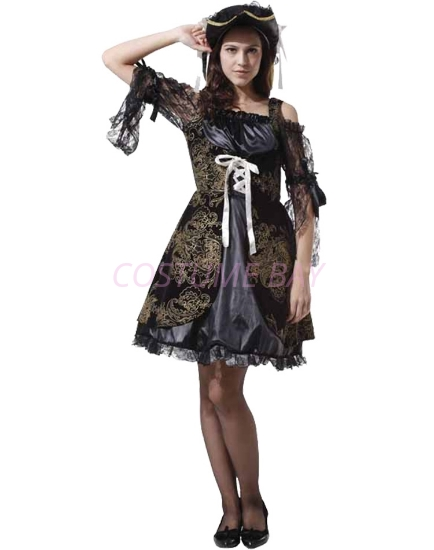 Picture of Womens Pirate Caribbean  Captain Costume - Black