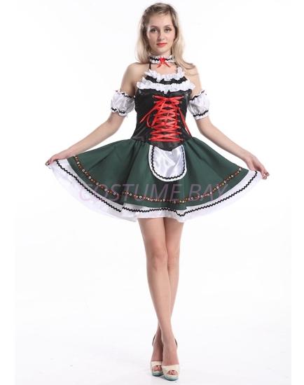 Picture of Ladies Oktoberfest Bavarian Beer Maid Green Dress Costume