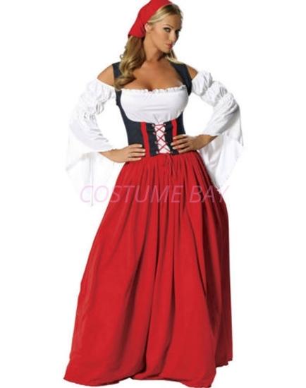 Picture of Oktoberfest German Bavarian Beer Maid Costume Long Dress