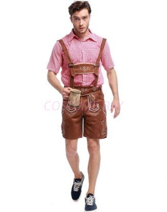 Picture of Bavarian Guy Mens Faux Suede Lederhosen Costume Brown