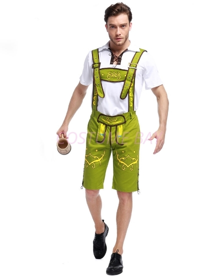 Picture of Mens Lederhosen Oktoberfest Bavarian German Beer Costume Green