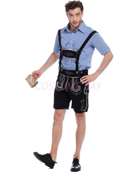 Picture of Bavarian Guy Mens Lederhosen Costume Black