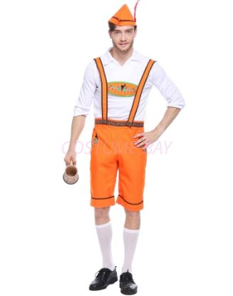 Picture of Bavarian Guy Mens Lederhosen Costume Orange