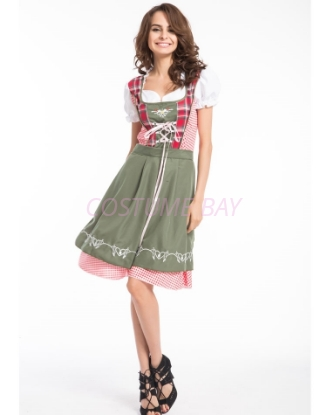 Picture of Ladies Oktoberfest Bavarian Beer Maid  Costume with Dark Green Apron