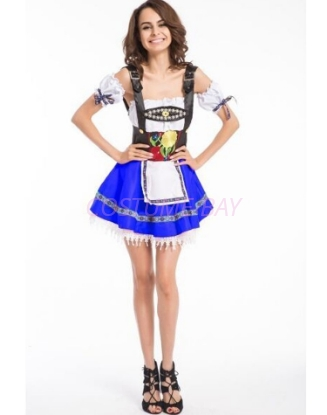 Picture of Ladies Oktoberfest Bavarian Beer Maid Blue Dress Costume