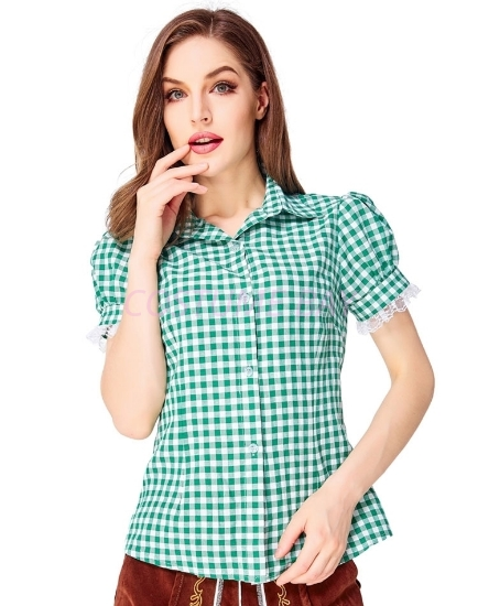 Picture of Ladies Oktoberfest Bavarian Beer Maid Shirt - Green