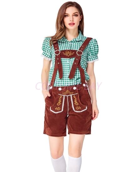 Picture of Ladies Oktoberfest Bavarian Beer Maid Costume Set - Green Shirt + Brown Short