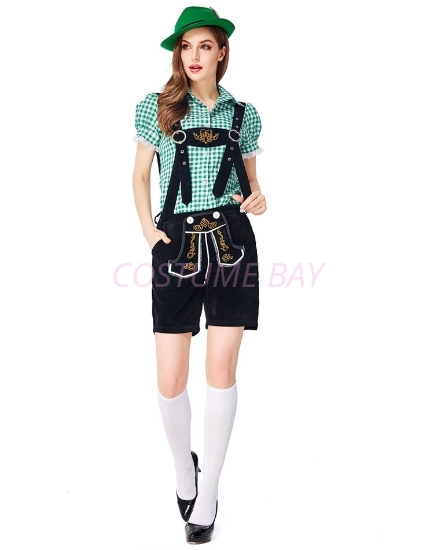 Picture of Ladies Oktoberfest Bavarian Beer Maid Costume Set - Green Shirt + Black Short