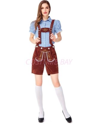 Picture of Ladies Oktoberfest Bavarian Beer Maid Costume Set - Blue Shirt + Brown Short