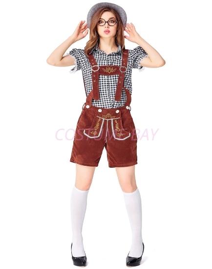 Picture of Ladies Oktoberfest Bavarian Beer Maid Costume Set - Black Shirt + Brown Short