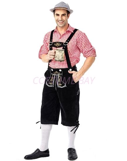 Picture of Bavarian Guy Mens Lederhosen Red Shirt + Black Shorts