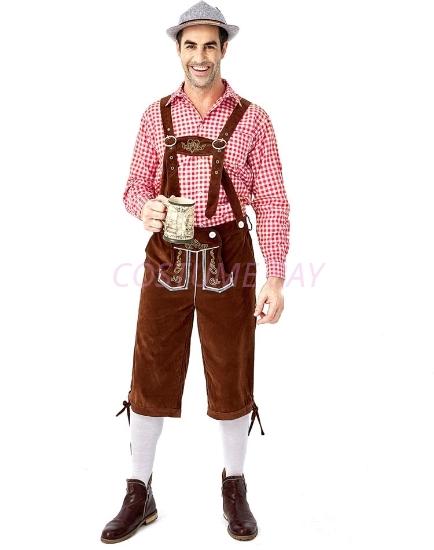Picture of Bavarian Guy Mens Lederhosen Red Shirt + Brown Shorts