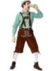 Picture of Bavarian Guy Mens Lederhosen Green Shirt + Brown Shorts
