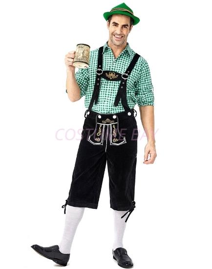 Picture of Bavarian Guy Mens Lederhosen Green Shirt + Black Shorts