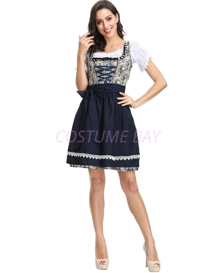 Picture of Ladies Oktoberfest Beer Wench Maid Cotton Print Dress