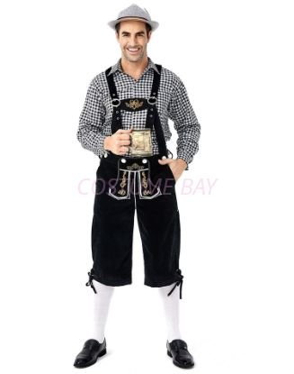 Picture of Bavarian Guy Mens Lederhosen Black Shirt and Shorts