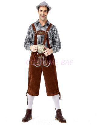 Picture of Bavarian Guy Mens Lederhosen Black Shirt + Brown Shorts