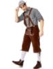 Picture of Bavarian Guy Mens Lederhosen Black Shirt + Brown Shorts
