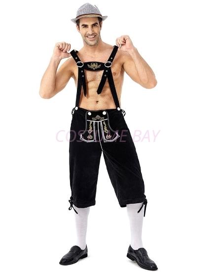 Picture of Bavarian Guy Mens Lederhosen Shorts - Black