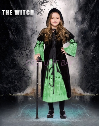 Picture of Girls Grey Black Glowing Wicked Witch Costume