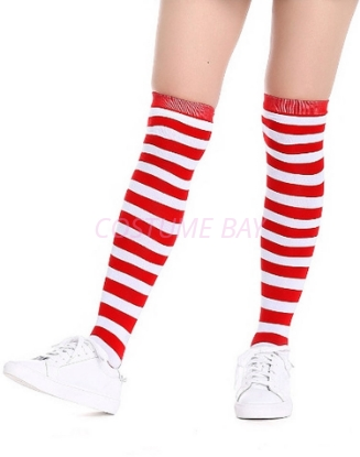 Picture of Christmas Halloween Red and White Striped Stockings