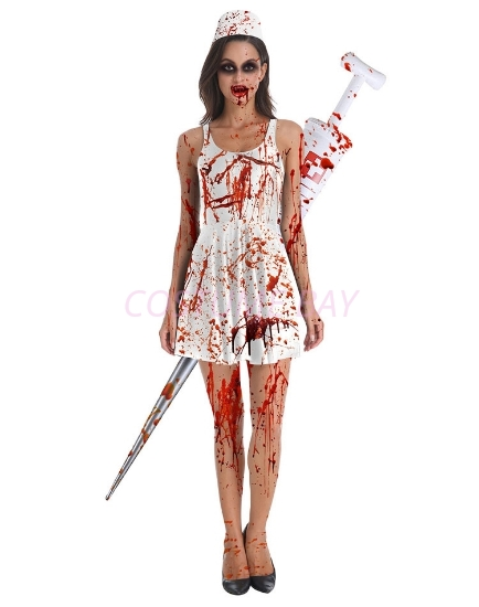 Picture of Womens Halloween Zombie Bloody Nurse Costume