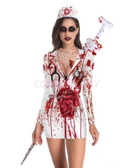 Picture of Womens Halloween Zombie Bloody Nurse Costume Long Sleeves