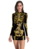 Picture of Womens Halloween Zombie Skeleton Print Dress Costume
