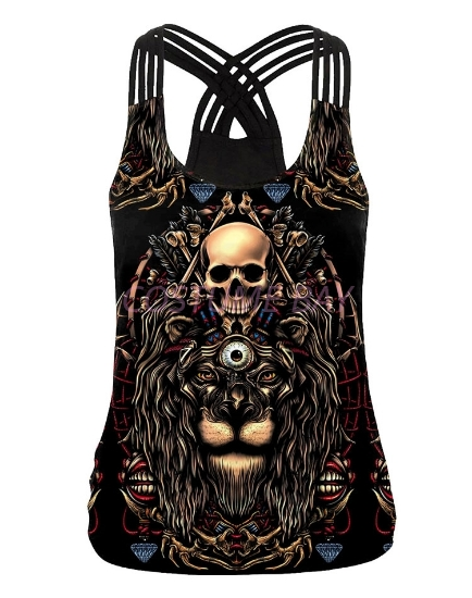 Picture of Womens Halloween 3D Skull Skeleton Print Vest