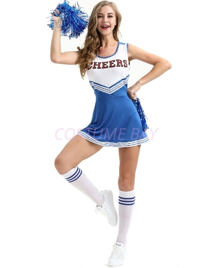 Picture of Cheerleader Costume with Pom Pom - Blue