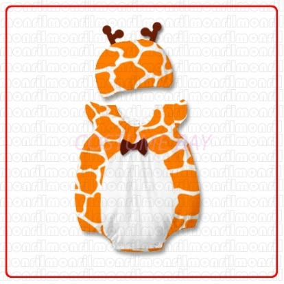 Picture of Baby Rompers Onesie Bodysuit with Hat - Giraffe
