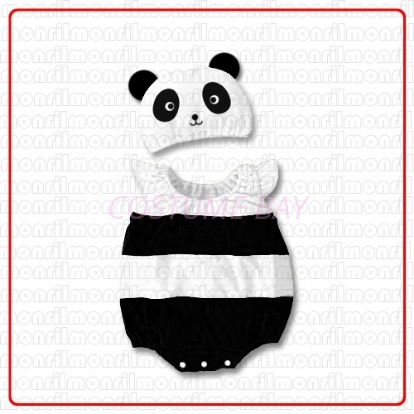 Picture of Baby Rompers Onesie Bodysuit with Hat - Panda